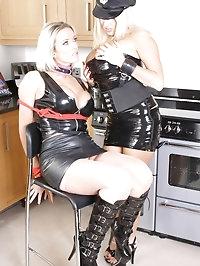 Gorgeous blonde police woman interrogates a naughty lesbian