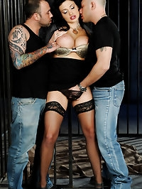 Hot Glamour babe fucked by two guys in jail