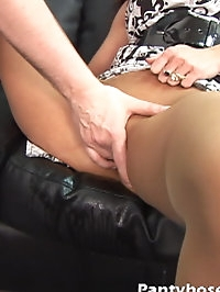 Beauty with pantyhose wants deep drilling