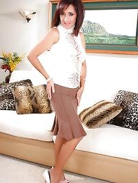 Cute mature whore brunette in amazing pantyhose