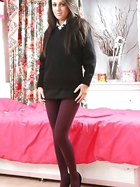 Jamie A in her black college uniform and plum pantyhose.