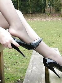 Horny brunette loves to wear her high heels outdoors