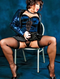 Gorgeous tramp in electrifying blue jacket