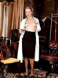 Mischievous Anilos doctor teases her tits and pussy with a..