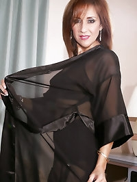 Black lingerie mom wearing super smooth stockings