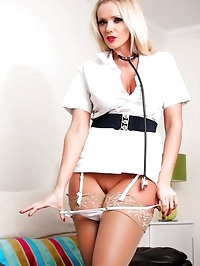 Horny nurse babe Lucy Zara takes off her panties and..