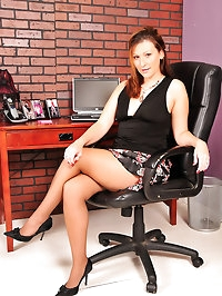 Beauty shines in nude pantyhose and black stilettos