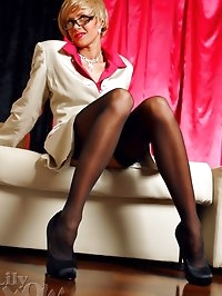 Horny business lady Lily in sexy black stockings