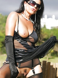 Milf Eve Outdoor Sexy Dress and Fully Fashioned Stockings