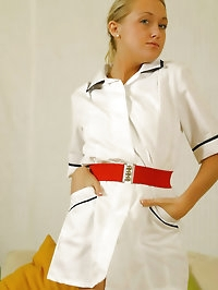 Lucy Anne is looking amazing in nurse uniform with silk..