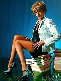 Kinky secretary Milf in thin stockings and high heels