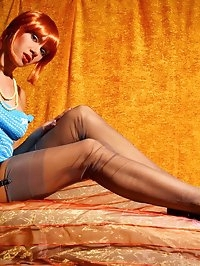 Elegant leggy MILF LilyWOW in sexy grey stockings and hot..