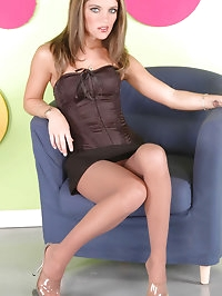Lusty tramp in black dress and nylons