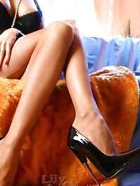 Drunk leggy lady Lily in nylon stockings and high heels