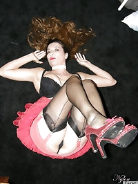 Nylon Jane showing off her great legs and sexy high heels
