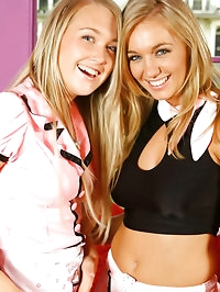 Hayley-Marie & Lucy-Anne are 'pretty in pink' in these..