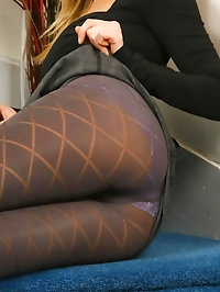 Saucy secretary Hayley-Marie in a revealing outfit with..