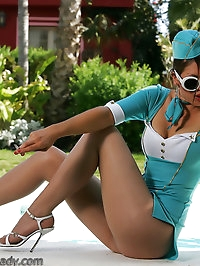 Raunchy airline attendant looks incredible