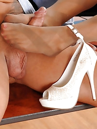Drizzling hot cum in white heels!