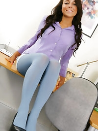 Beautiful brunette Bethany in a smart office outfit with..
