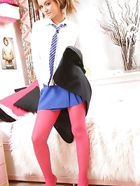 Cute college girl in bright pink pantyhose, blue miniskirt..