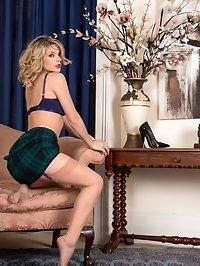 Vanessa gets frisky in lovely designer retro lingerie..