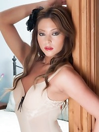 Natalia in crotchless body, garters, black vintage nylons..