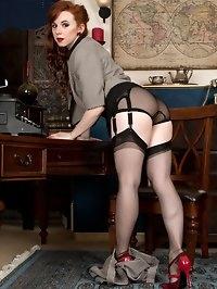 Vivi the cute redhead temp gets into some sex play,..