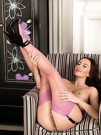 Sophia looks ultra sexy in this 3 piece lingerie set and..
