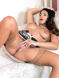 Roxy loves to show off her sexy lingerie and nylons, and..