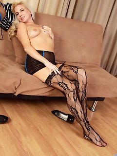 Blonde beauty Jessica Taylor is rocking a pair of sheer..