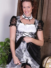 Roxanne Clemmens is a sexy French maid as she slips out of..