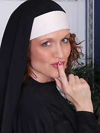 Sexy nun Roxanne Clemmens has a great habit of stripping..