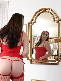 Stunning Crystal Coxxx in Red Lingerie