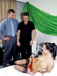 Hot executive assistant getting fucked hard by her bosses