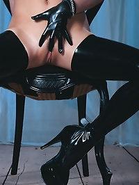 Pornstar Ellen in latex boots is a kinky slut who loves cock