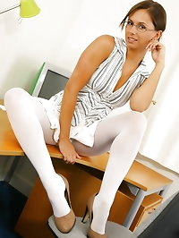 Louise L looking stunning in a sexy light secretary outfit..