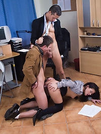 Naughty secretary with glasses sucks two bisexual big cocks