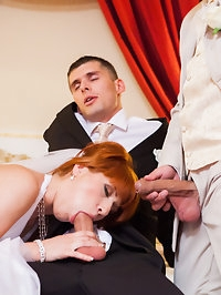 Bride gets into kinky threesome and gets double penetrated