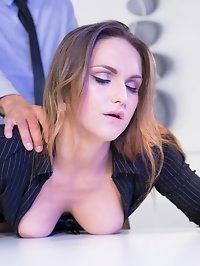 Hot Secretary Barbara Bieber Puts the Squeeze on Her Boss