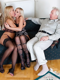 Old lucky fucker is dealing with two amazing young blondes