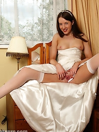 Rose masturbates in her silk wedding dress and white..