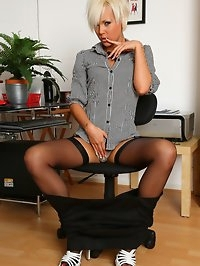 Secretary Jada strips and spreads in the office