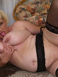 Horny Agness loves playing with her big natural boobs