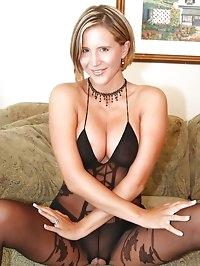 Desirae in Black Nylon Bodysuit Showing Pussy