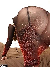 Horny milf Daniella in sheer dress and seamed stockings..