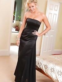 Leah F looks amazing in her floor length black evening..