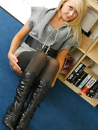 Beautiful blonde Lucy-Anne shows off her lovely legs in a..