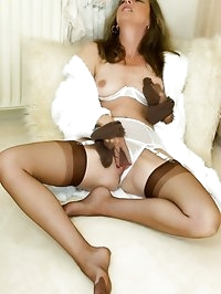horny babe loves her nylon