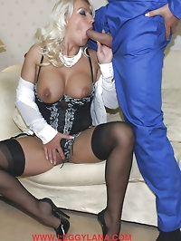 Kinky Lana pulls this guys cock out of his boiler suit and..